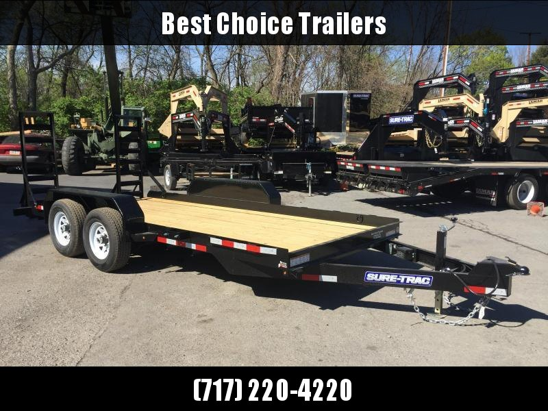 """NEW Sure-Trac 7x16' Skidsteer Equipment Trailer 9900# GVW * LOW LOAD ANGLE * DROP AXLES * PAN FRAME * STAND UP RAMPS+SPRING ASSIST * 6"""" TONGUE/FRAME * CLEARANCE"""