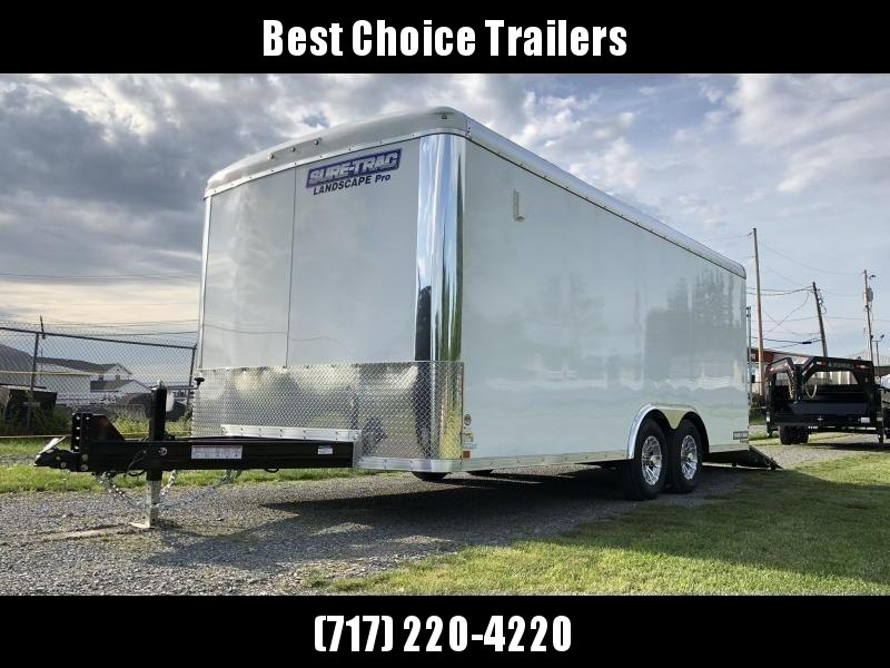 "2019 Sure-Trac 8.5x22' Landscape Pro Enclosed Trailer 9900# GVW * WHITE EXTERIOR * 2X6"" PLANK FLOOR * EXTENDED TONGUE * 5200# TORSION * INTEGRATED KNIFE EDGE * STEEL WORKBENCH * EXTENDED TONGUE * ADJUSTABLE COUPLER * DROP LEG JACK * HD GUSSETS/REINFORCEME"