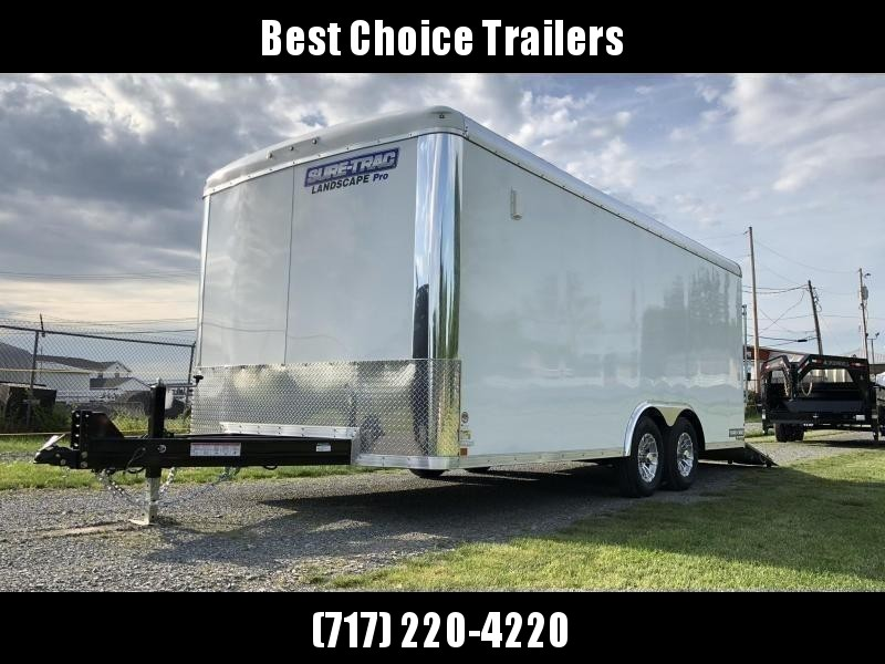 "2020 Sure-Trac 8.5x22' Landscape Pro Enclosed Trailer 9900# GVW * WHITE EXTERIOR * 2X6"" PLANK FLOOR * EXTENDED TONGUE * 5200# TORSION * INTEGRATED KNIFE EDGE * STEEL WORKBENCH * EXTENDED TONGUE * ADJUSTABLE COUPLER * DROP LEG JACK * HD GUSSETS/REINFORCEME"