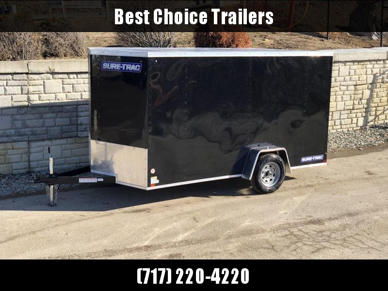 """2020 Sure-Trac 7x12' Enclosed Cargo Trailer 2990# GVW * CHARCOAL EXTERIOR * V-NOSE * RAMP * .030 SEMI-SCREWLESS EXTERIOR * 4"""" TUBE FRAME * TUBE STUDS * RV DOOR * BULLET LED'S * UNDERCOATED"""