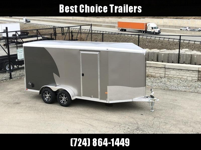 "2020 Neo 7x14 NAMR Aluminum Enclosed Motorcycle Trailer * VINYL WALLS * ALUMINUM WHEELS * +6"" HEIGHT * PEWTER+CHARCOAL * SPORT TIE DOWN SYSTEM"