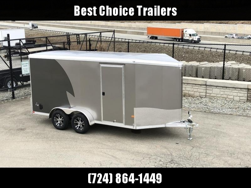 """2020 Neo 7x14 NAMR Aluminum Enclosed Motorcycle Trailer * VINYL WALLS * ALUMINUM WHEELS * +6"""" HEIGHT * PEWTER+CHARCOAL * SPORT TIE DOWN SYSTEM"""