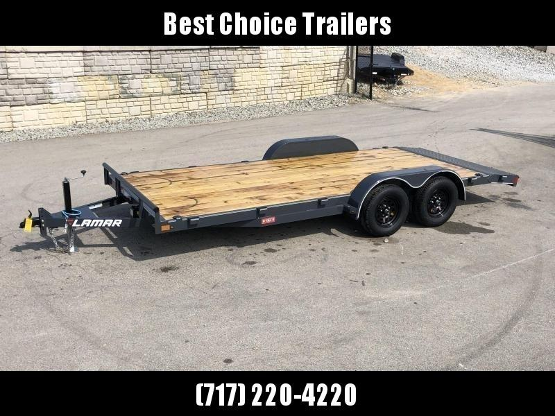 """2020 Lamar 7x16 7000# Wood Deck Car Hauler Trailer * ADJUSTABLE COUPLER * DROP LEG JACK * REMOVABLE FENDERS * EXTRA STAKE POCKETS * CHARCOAL * 4 D-RINGS * 5"""" CHANNEL FRAME * COLD WEATHER HARNESS * REAR RAMPS"""