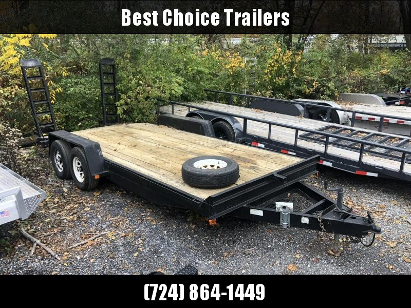 USED Holmes 7x18' Equipment Trailer 9990# GVW * SPARE TIRE & MOUNT * CHAIN TRAY * RUBRAIL * GOOD PAINT