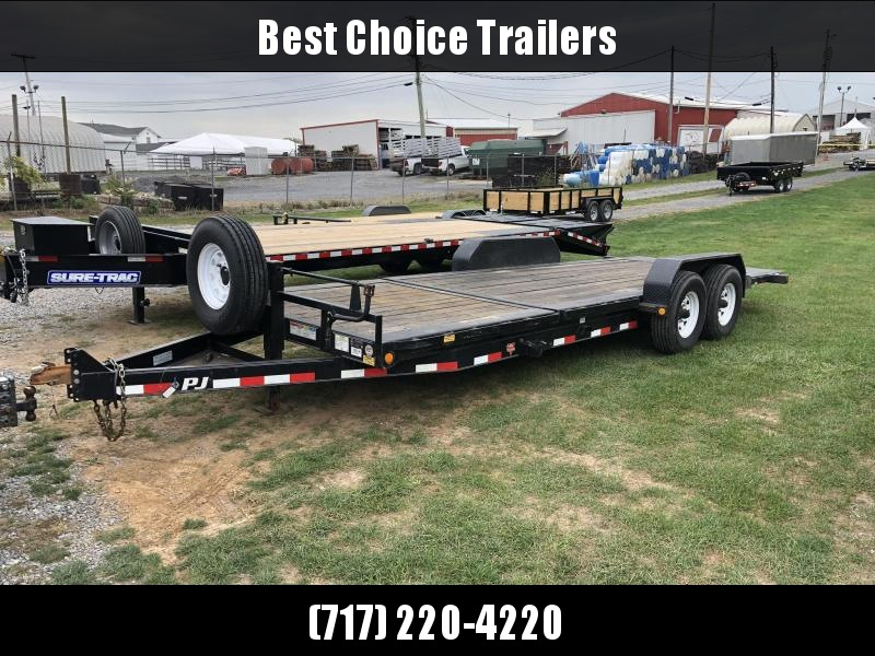 USED 2017 PJ 7x22' Gravilty Tilt Equipment Trailer 16000# GVW * TJ222 * 8000# DEXTER AXLES * TORSION * SPARE & MOUNT * STOP VALVE