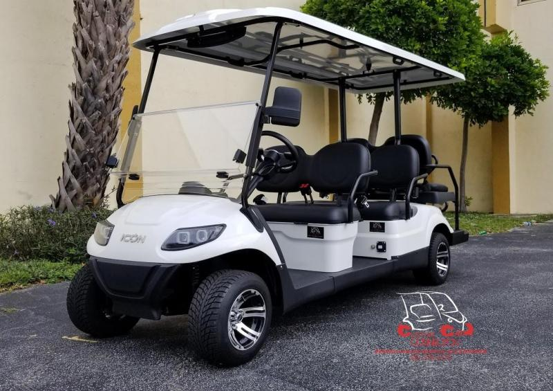 2020 ICON i60 White 6 Passenger Electric Golf Cart