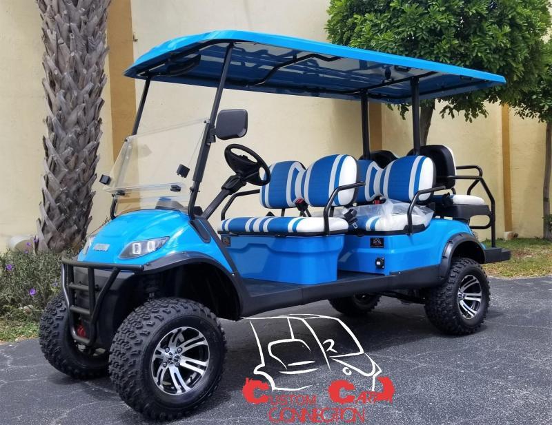 2020 ICON i60L Caribbean Blue Lifted 6 Passenger Golf Cart
