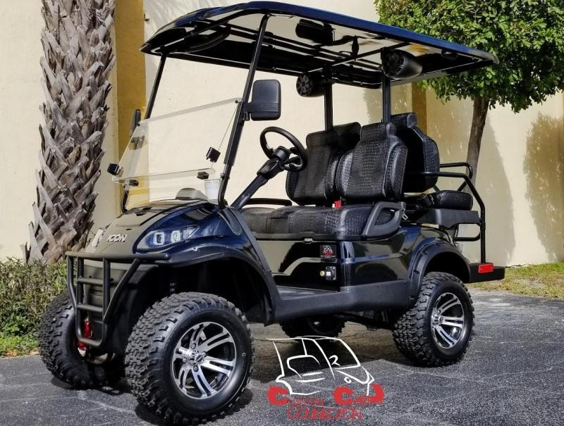 2020 ICON i40L Black Golf Cart w/Custom Black Gator Skin Seats