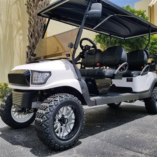 2018 Custom 6 Passenger Lifted White/Black Alpha Body Gas EFI Engine Club Car Precedent