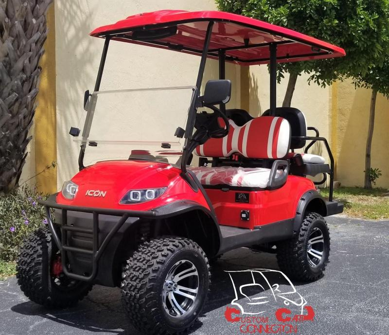 2020 ICON i40L Red Lifted Electric Vehicle Golf Cart