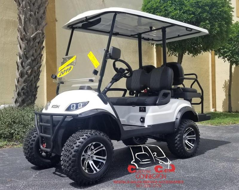 2019 ICON i40L Alpine White Golf Cart w/Custom Black & Gray Seats
