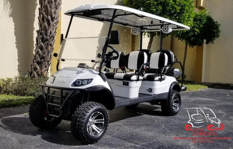 2020 ICON i60L White 6 Passenger Golf Cart w/Custom Black & White Seats