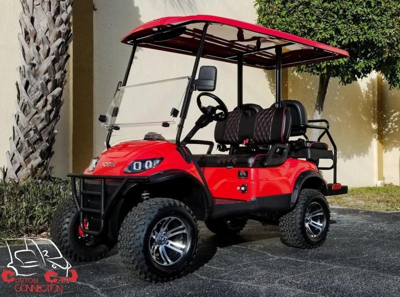 2020 ICON i40L Red Golf Cart w/Custom Red & Black Seats