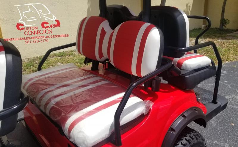 2020 ICON i60L Red Lifted 6 Passenger Golf Cart