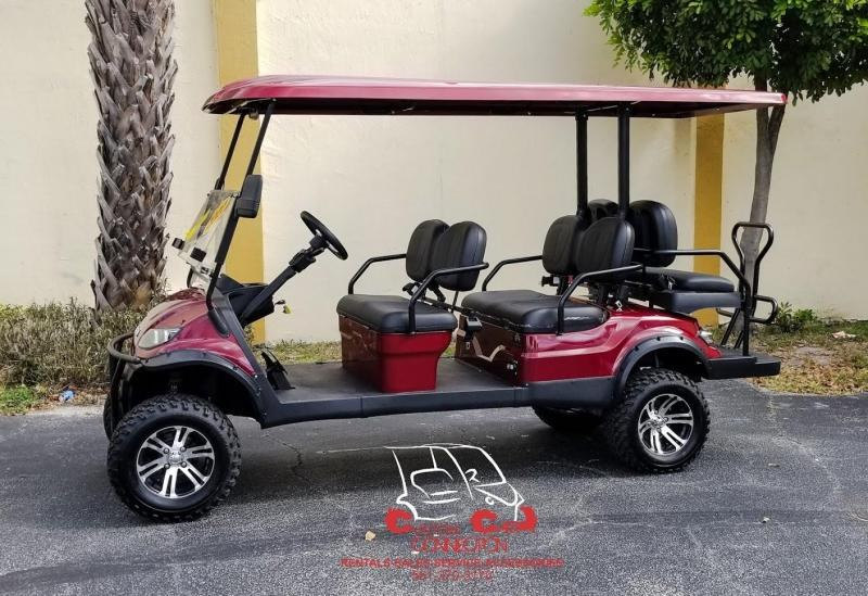 2020 ICON i60L Sangria Red Golf Cart w/Black Seats 6 Passenger