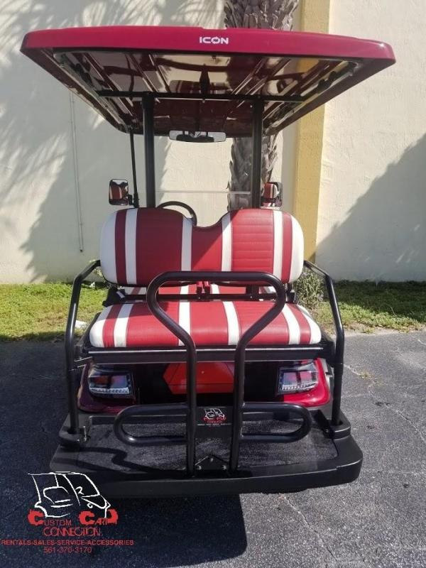 2020 ICON i40L Sangria Red Lifted Golf Cart Electric Vehicle