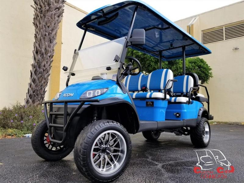2020 ICON i60L Caribbean Blue Golf Cart 6 Passenger