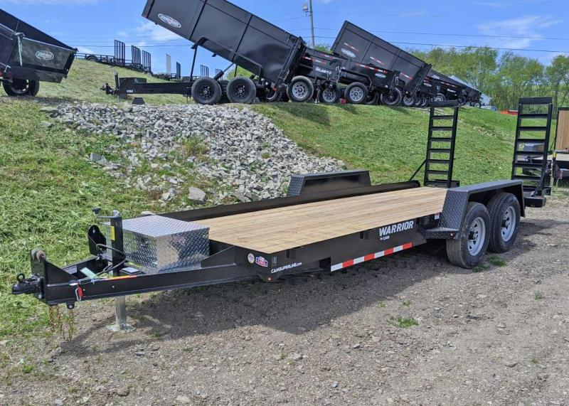 NEW 2020 CAM 18' Warrior Equipment Hauler w/ Aluminum Toolbox & 5' Angle Stand Up Ramps