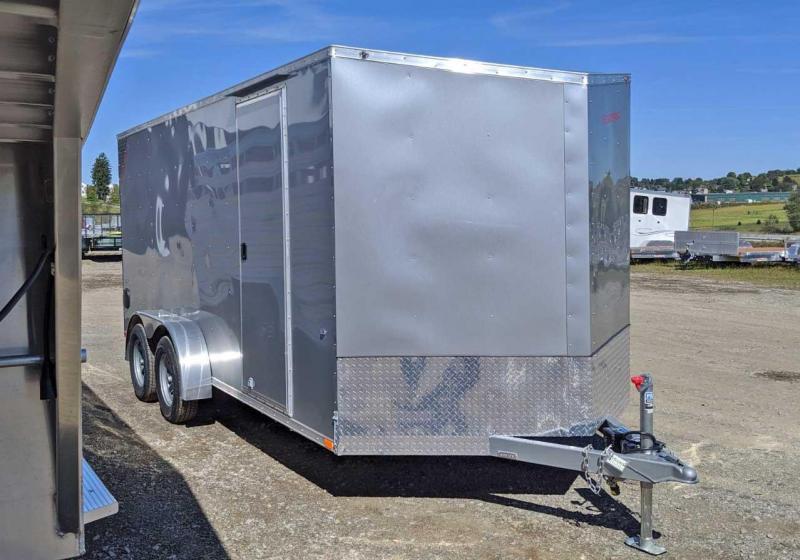 """NEW 2020 Steadfast 7x16 JST Sloped V-Nose Cargo Trailer w/Ramp (12"""" Add'l Hgt)"""