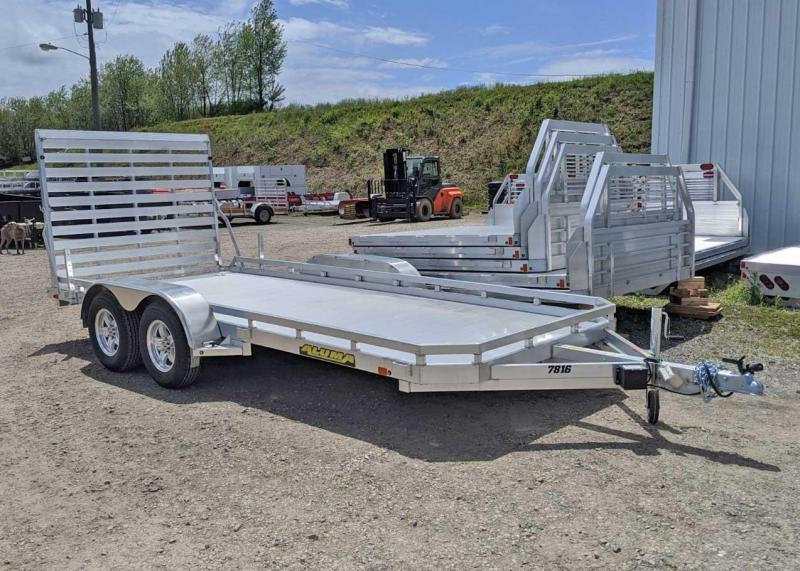 "NEW 2021 Aluma 6'6"" x 16' Tandem Utility Trailer w/ Drop Down Gate"