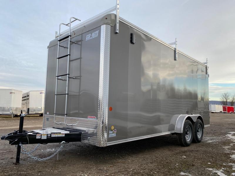 "NEW 2020 Car Mate 7x18 HD Custom Contractor Trailer w/ Rear Barn Doors (12"" Add'l Height)"
