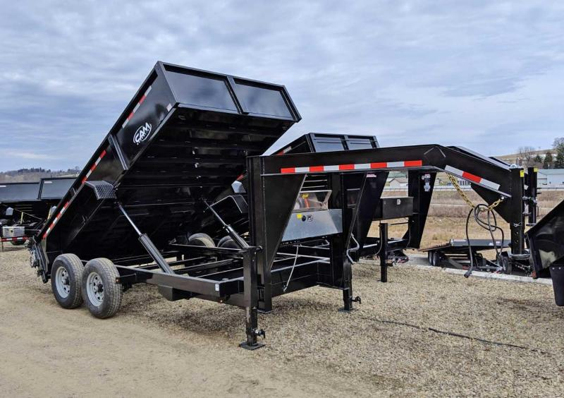"NEW 2020 CAM ""Advantage"" 6'8"" x 14' HD Gooseneck Lo Pro Equipment Dump Trailer"