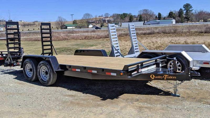 NEW 2020 Quality 18' HD General Duty Equipment Hauler w/ 2' Dove & Stand Up Ramps (7K Axles)