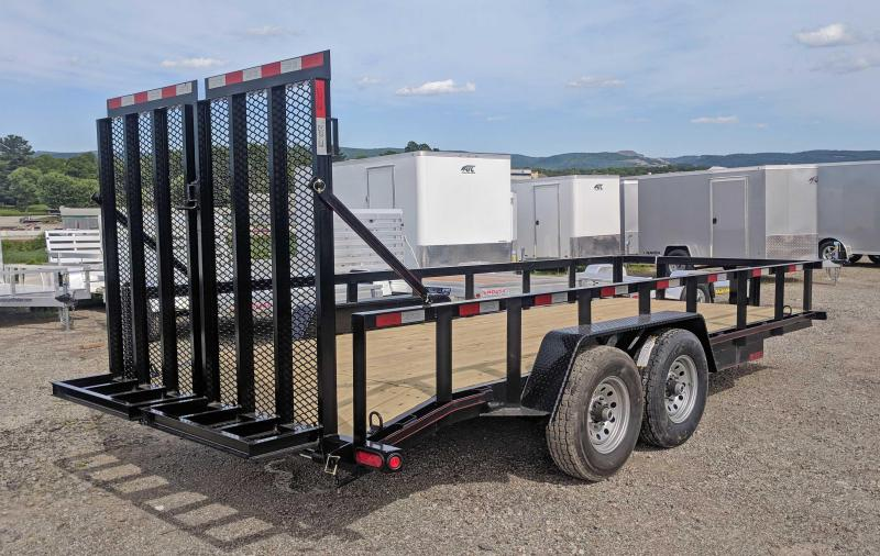NEW 2019 Quality 18' PRO Equipment Trailer w/Top Rail & HD Split Landscape Gate (OR 9990#GVW)