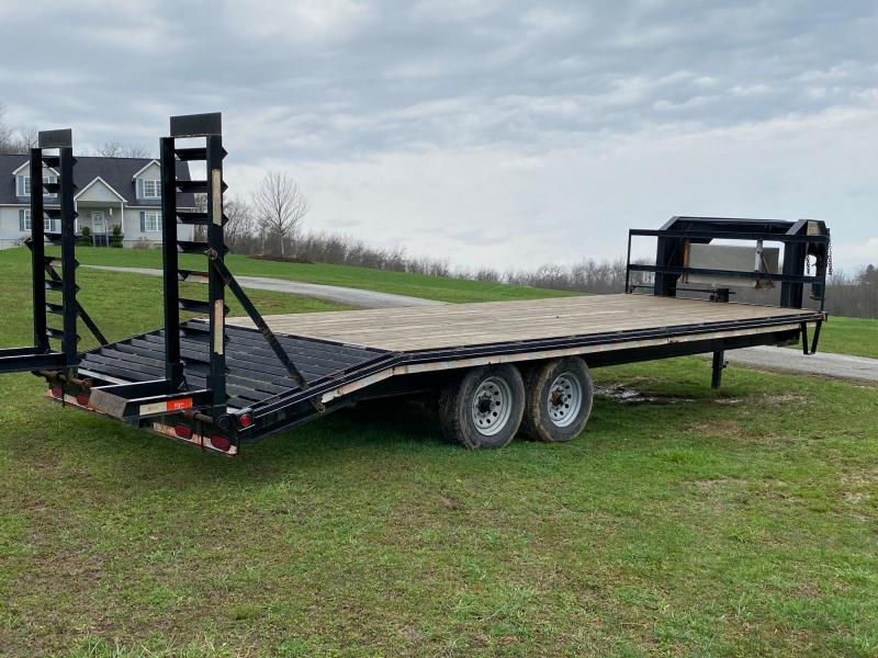 USED 2012 Kaufman Trailers 20+4 Gooseneck Deckover Equipment Trailer w/ Pop Up Beavertail ans Stand Up Ramps