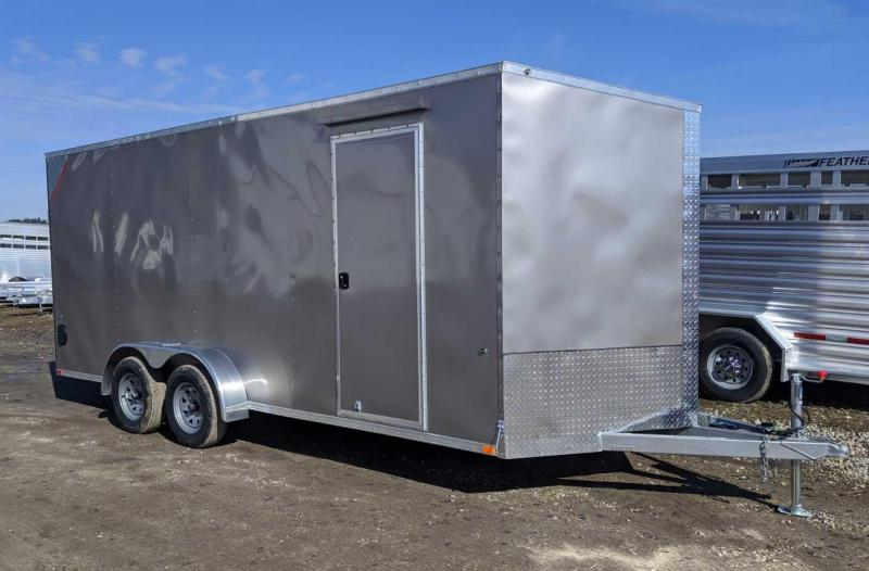 "NEW 2020 Steadfast 7x18 JST Sloped V-Nose Cargo Trailer w/ Ramp Door (12"" Add'l Hgt)"