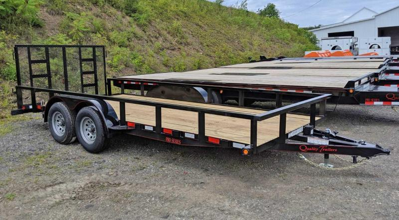 NEW 2020 Quality 7x18 HD PRO Utility Trailer w/ 2' Dove Tail & Spring Assist Rear Gate (9990# GVW!!)