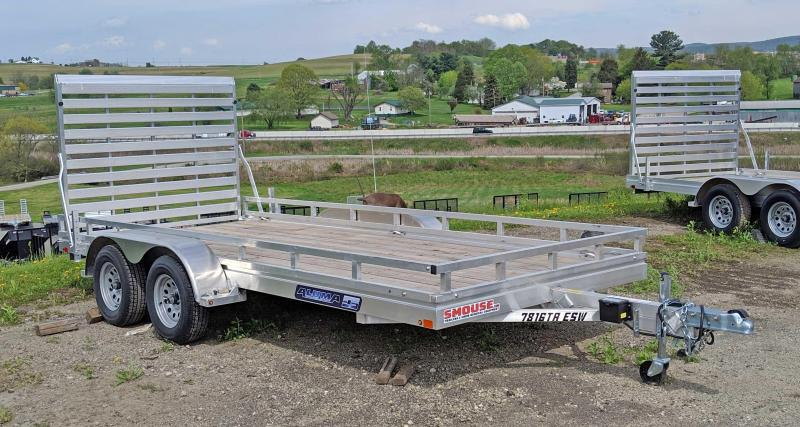"NEW 2019 Aluma 6'6"" X 16 EDGE Series Tandem Utility Trailer w/ Wood Deck & Side Kit"