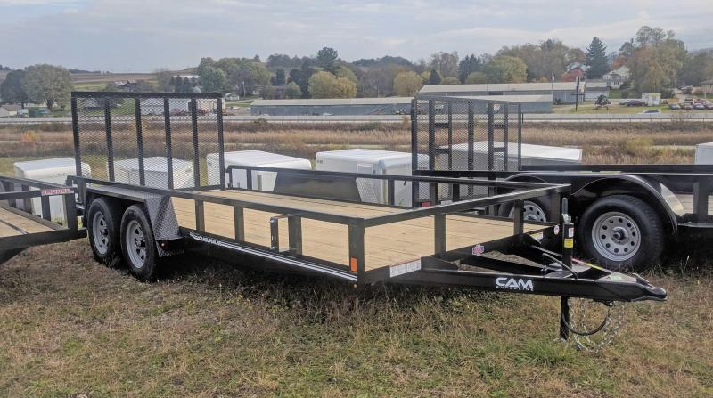 NEW 2020 CAM SUPERLINE 7x16 Tandem Axle Tubular Top Rail Powdercoated Utility Trailer