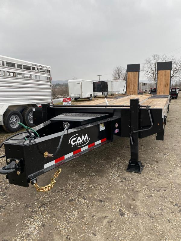"NEW 2020 CAM SUPERLINE 22+5 HD (20 Ton) Deckover Equipment Hauler w/ Wood Filled 40"" x 80"" Air Powered Ramps"