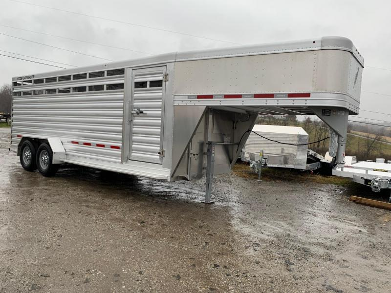 NEW 2020 Featherlite 20' Aluminum Gooseneck Stock Trailer w/  Center Gate w/ Slider