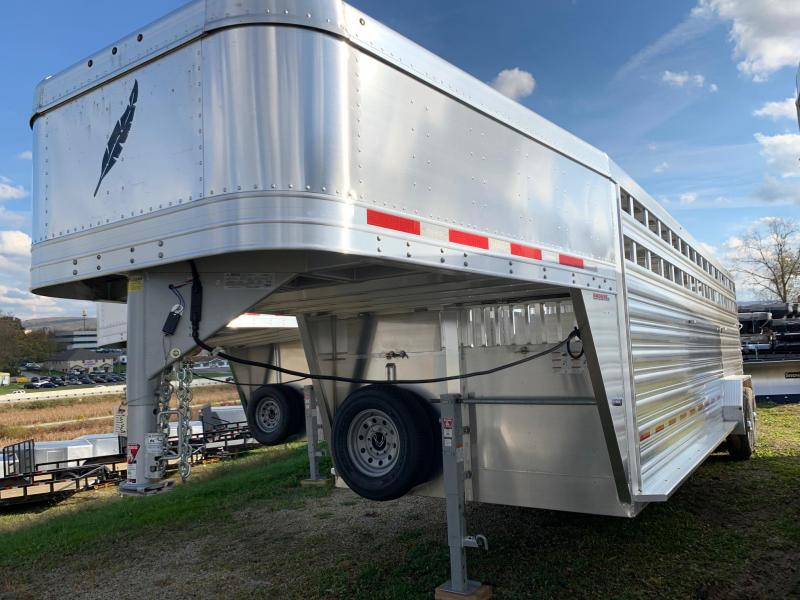 NEW 2020 FEATHERLITE 7'  x  24' PerfectFitTM System Gooseneck Stock Trailer w/ (2) Centergates w/ Sliders