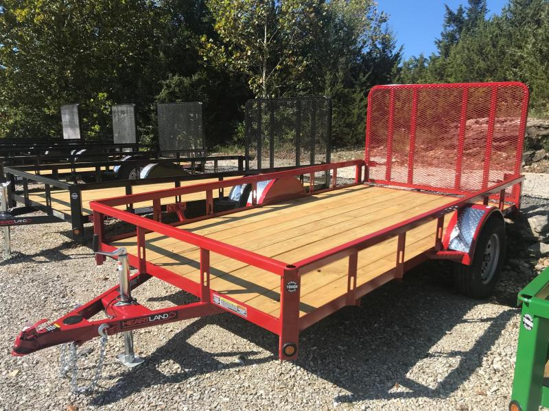 2019 Heartland 77X12 HEARTLAND 3K GVW 4' GATE RED Utility Trailer