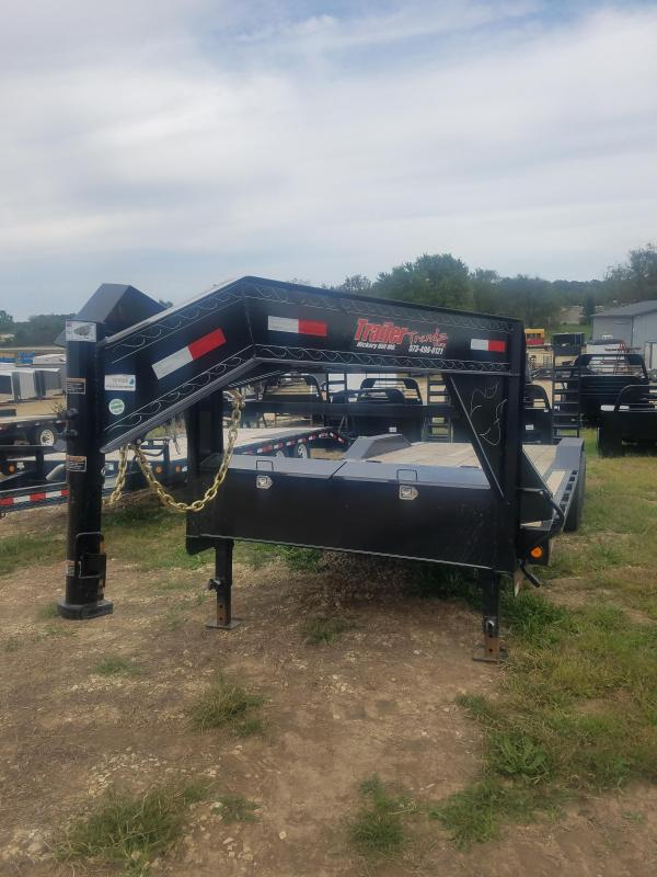 2019 Load Trail 102X24 GOOSNECK STAND UP RAMPS 2 DOVE BLACK Flatbed Trailer