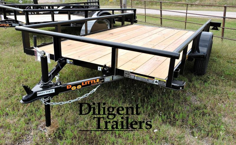 "2020 Doolittle Trailer Mfg 77"" x12' Single Axle 3.5K Tilt Utility Trailer"