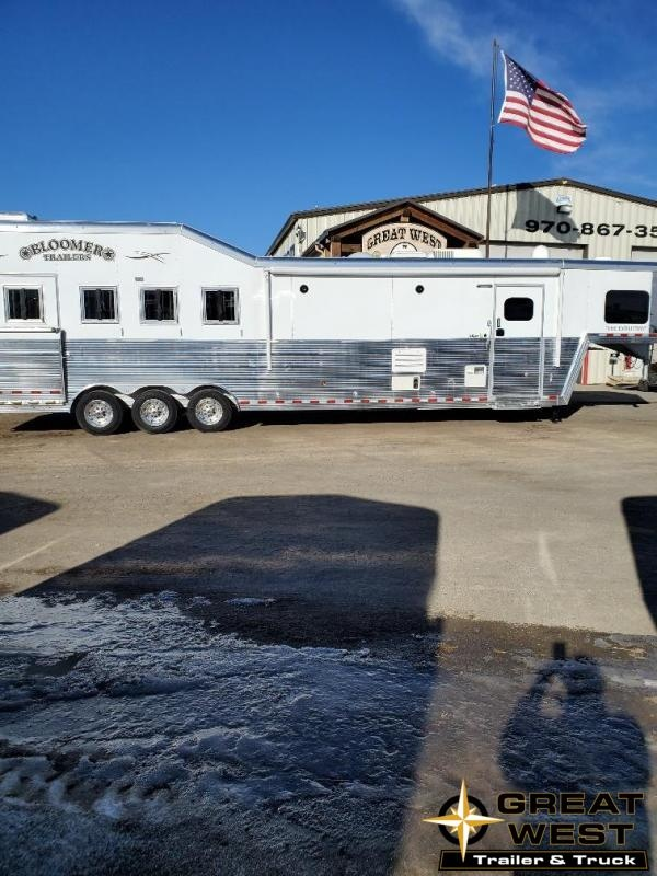 "2019 Bloomer 14'9"" Short wall slide out rear side load 4 Horse Trailer"