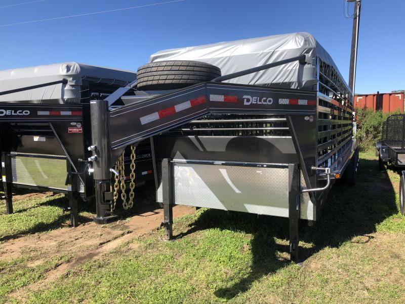 2019 Delco Trailers 6 8 X 28 Gooseneck Bar Top 3-7K Axles Livestock Trailer