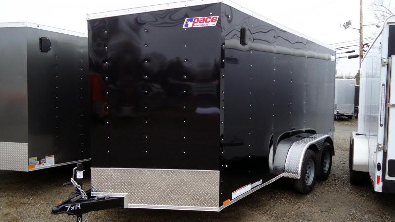"2020 Pace American 7X14 OBDLX TE2 30VS 6""X BLACK Enclosed Cargo Trailer"