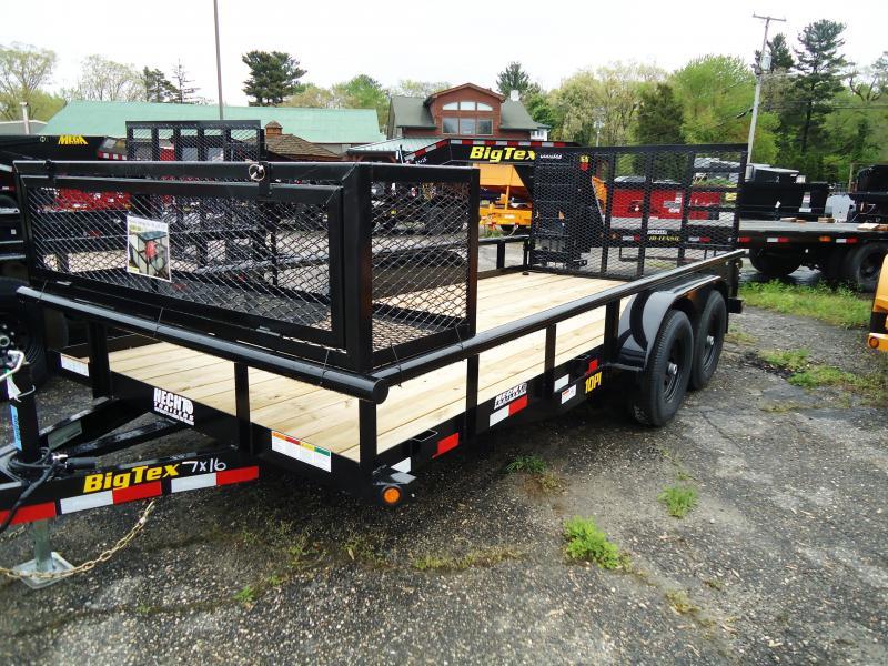 2020 Big Tex Trailers UT 7X16 10PI 16BK 4HD RG BLACK Equipment Trailer