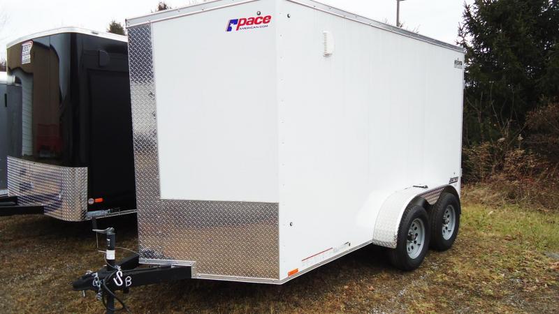 2020 Pace American 6X12 JVSE TE2 24VS 6X SVNTS WHITE Enclosed Cargo Trailer