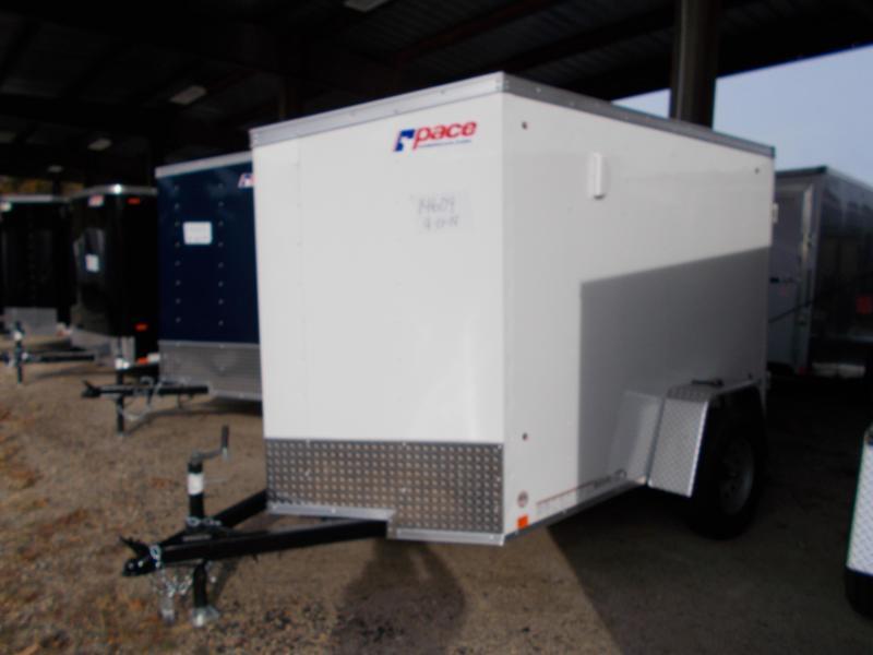 2021 Pace American 5X8 OBDLX SI2 24VS RAMP SVNT WHITE Enclosed Cargo Trailer