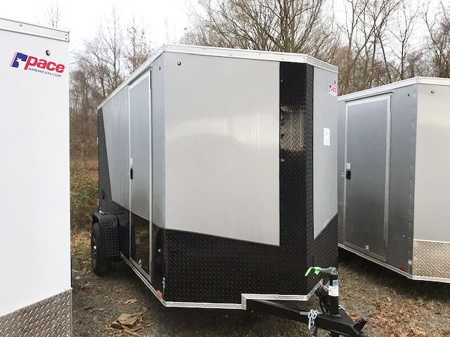 "2021 Pace American 6X12 JVSE SI2 6""X 24VS RAMP+ DRNG SILVER & BLACK Enclosed Cargo Trailer"