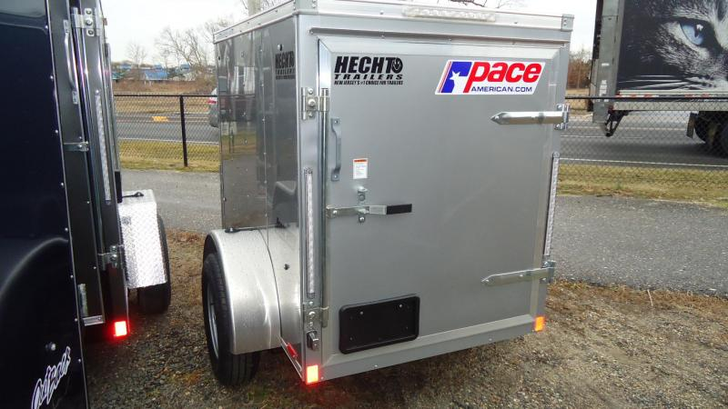 2021 Pace American 4X6 JV SI2 18W SWING UP JACK SILVER Enclosed Cargo Trailer