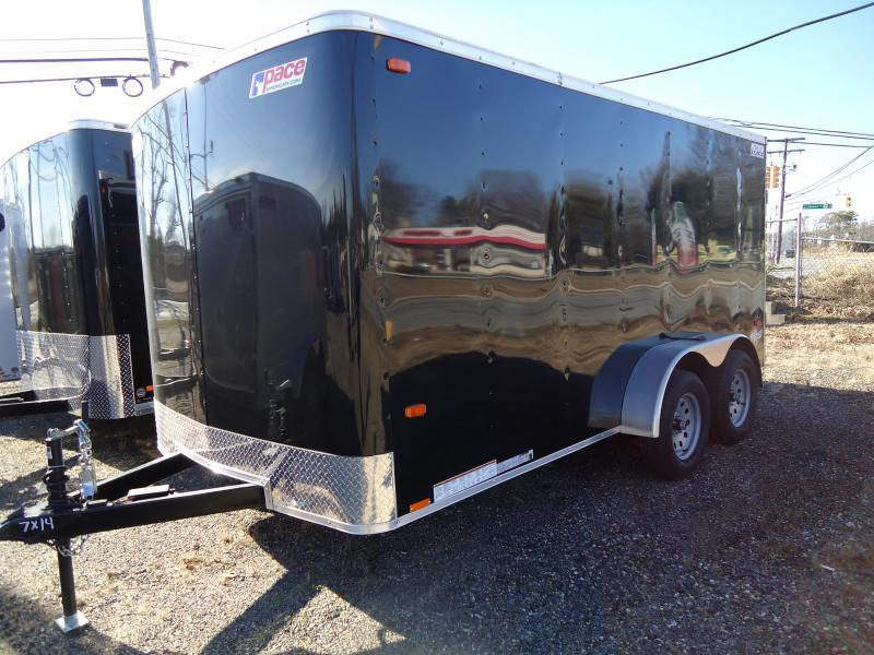 2021 Pace American 7X14 OB TE2 RAMP BLACK Enclosed Cargo Trailer