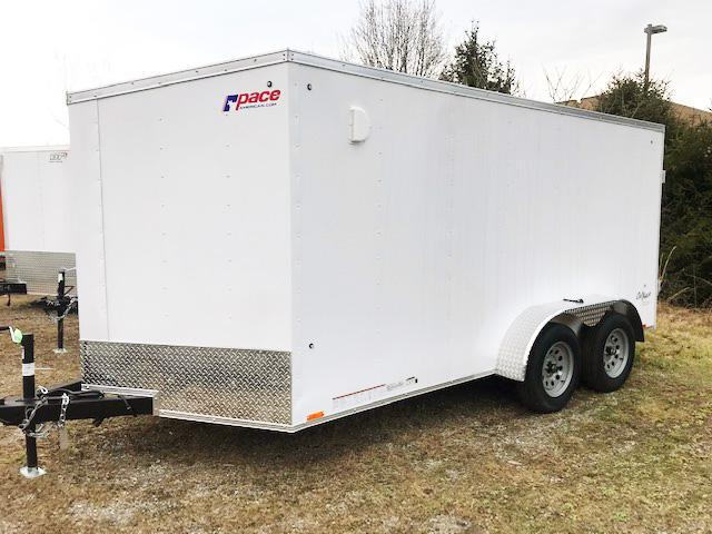 2021 Pace American 7X14 OBDLX TE2 30VS SVNT WHITE Enclosed Cargo Trailer