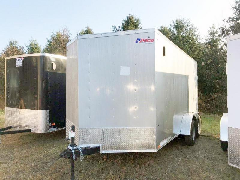 "2020 Pace American 7X14 OBDLX TE2 30VS 6""X RAMP SVNT SILVER Enclosed Cargo Trailer"